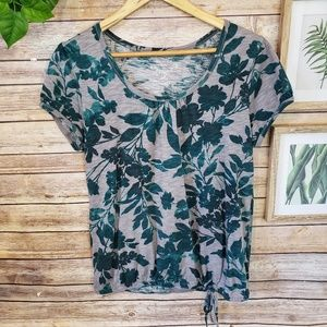 3/$20 Sonona Teal & Gray Floral Top Size M